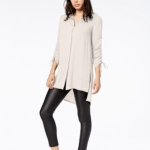 Bar III Ruched High-Low Shirt